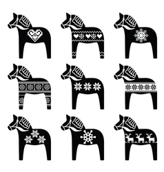 Swedish Dala Dalecarlian horse winter pattern vector image