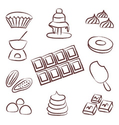 sweet chocolate doodle sketch icons set eps10 vector image