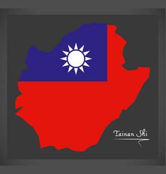 tainan shi taiwan map with taiwanese national flag vector image vector image