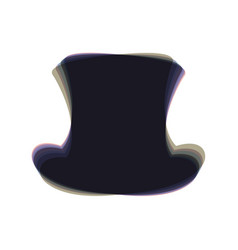 Top hat sign colorful icon shaked with vector