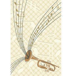 trumpet with musics vector image
