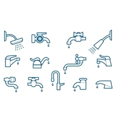 Water tap or faucet line icons set vector image