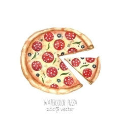 Watercolor pizza vector image