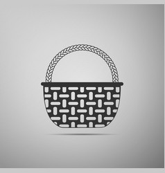 wicker basket icon isolated on grey background vector image