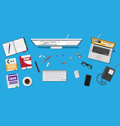 workplace of programmer or coder vector image vector image