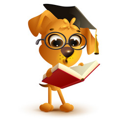 yellow dog teacher reading book vector image