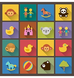 zoo and animals icons in flat design style vector image
