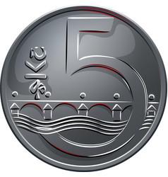 Money five czech crones coin reverse vector