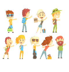 Hitch hike traveler person set for label design vector