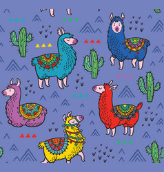 Seamless pattern with alpaca and cactuses vector