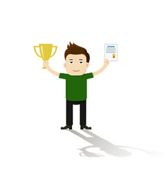 Businessman proudly standing and holding up trophy vector