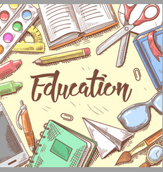 Back to school education concept hand drawn vector