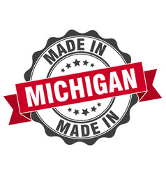 Made in michigan round seal vector