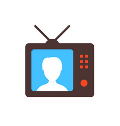brown tv icon with anchorwoman vector image