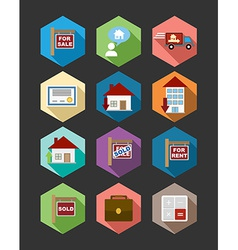 Real estate flat icons set vector