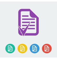 Document accept flat circle icon vector