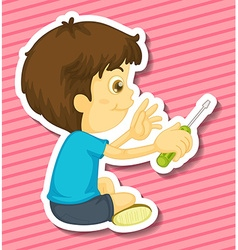 Boy and screwdriver vector image