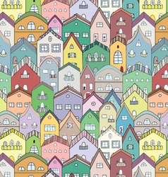 Town full of houses seamless pattern vector