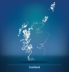 Doodle map of scotland vector
