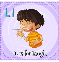 Flashcard letter l is for laugh vector