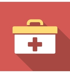 First aid toolbox flat square icon with long vector