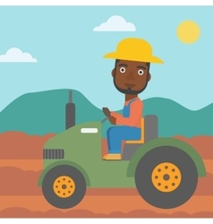 Farmer driving tractor vector