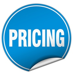 Pricing round blue sticker isolated on white vector