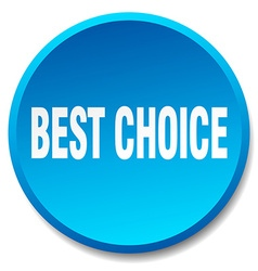 Best choice blue round flat isolated push button vector