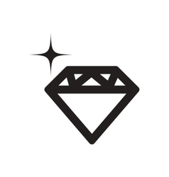 Flat icon in black and white diamond vector