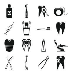Dental care icons set simple style vector