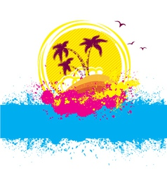 Tropical islandabstract image with grunge elements vector
