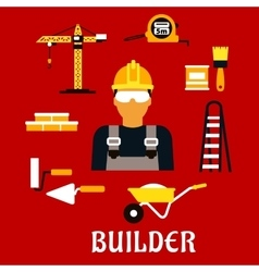 Builder and construction flat icons vector