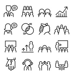 business consulting icon set in thin line style vector image vector image