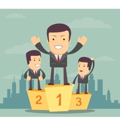 Business people stand on the podium vector image