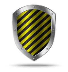 Classic metal shield with yellow pattern vector