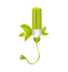 Color silhouette with fluorescent lamp with leaves vector