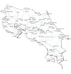 Costa rica black white map vector