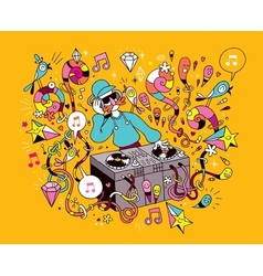 Dj playing mixing music on vinyl turntable cartoon vector