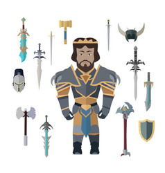 fantasy knight character with weapons vector image