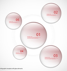 Five glass rings template with red color vector image vector image