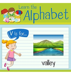 Flashcard letter v is for valley vector