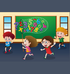 four kids catching numbers in classroom vector image vector image