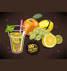 Fresh fruits for squeezed juice with an orange vector