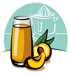 fresh peach juice vector image vector image