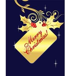 Golden merry christmas tag vector