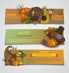 Happy thanksgiving horizontal banners set vector