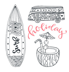 icon set summer beach vacation with surfboard vector image