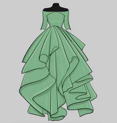 pale green dress with a long puffy skirt eps 10 vector image
