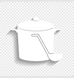 Pan with steam sign white icon with soft vector