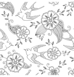Seamless pattern with swallow bird flying and vector